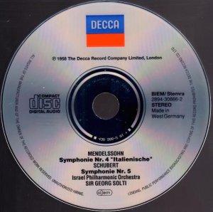 画像3: [中古CD] 独DECCA ショルティ/メンデルスゾーン「イタリア」, シューベルト 交響曲第5番
